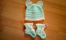 Handmade Crocheted Baby Unisex Beanie Hat + Ears + Boots Acrylic various colours