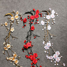 Charming Embroidered Plum Blossom Flower Patch Iron/Sew on Applique MotifCraftES