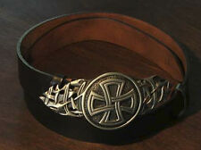 Black Leather Medieval Celtic Cross Belt and Buckle