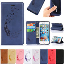 Feather Pattern Stand Flip PU Leather Wallet Case Cover Skin For iPhone Samsung