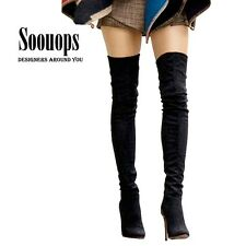 BOOTS OVER KNEE HIGH THIGH HEEL SUEDE UP SHOES PLUS SIZE FEMALE WINTER FOR WOMEN