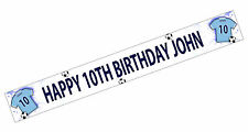 PERSONALISED BANNER NAME AGE PHOTO BIRTHDAY FOOTBALL 50th 60th 70th 80th BLUE K1