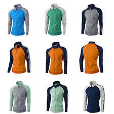 Mens Fashion Slim Color matching Coat Mens Stand Collar Casual Sport Jacket 32