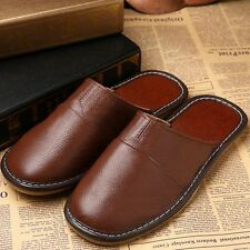 Fashion Mens Womens Genuine PU Leather Slippers Shoes Mules Hand Made Durable
