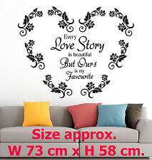 Every Love Story is - Art Heart of Roses Home Room Wall Vinyl Stickers Quotes v1