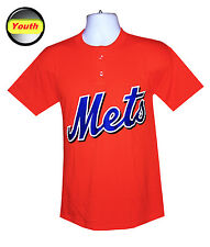 Mlb Youth Apparel - New York Mets Kids Majestic SS Henley Jersey-Tee Shirt, NEW