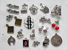 GAMES OF CHANCE! Charms 22pc $ Slot Machine Dice Cards Bingo! Lottery Cherries $