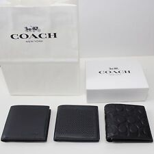 NWT Coach Leather Double Billfold Men Wallet BLACK 74981 75278 74992 75006 74674