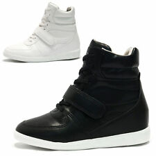 Womens Strap High Top Hidden Wedge Sneakers / Black, White