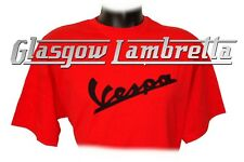 Retro Vintage-Style VESPA SCOOTER LOGO T-Shirt, S-XXL, Red with Black Logo