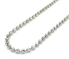 "10KT White Gold Diamond Cut Moon Bead & Bar Chain Necklace 3MM - Size 18""-24"""