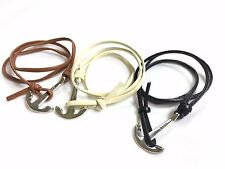 Multi-colours Leather Triple Wrap Bracelet Wristband Stainless Steel Ankle Clasp