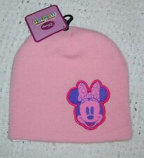 NWT Girls DISNEY MINNIE MOUSE Pink Winter Beanie Hat - One Size Fits 8-20