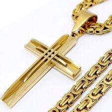 Mens Silver Gold Stainless Steel Byzantine Chain PENDANT Necklace 18-36inch 6mm