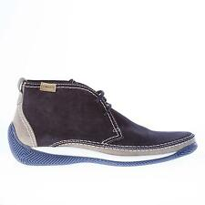 LO WHITE men shoes dark blue suede lace up ankle boot with grey suede trim