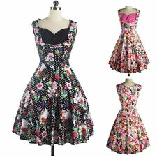 Women's Floral Vintage 1950's Style Rockabilly Casual Party Swing Dress
