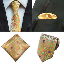 Men Orange Green Geometric Silk Tie Pocket Square Handkerchief Set Lot HZ136