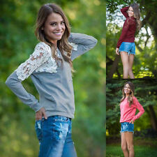 Stylish New Womens Long Sleeve Casual Blouse Round Crew Neck T Shirts Top Tee