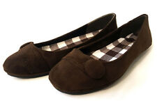 Womens CHESS Comfy Ballet Flat Plain  Shoe BROWN Suede