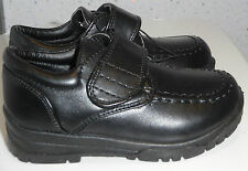 TODDLER BOYS SHOES SIZE UK 6 EUR 23 BLACK THICK STRAP HOOK AND LOOP NURSERY NEW
