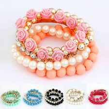 Temperament Mix Flower Beads Stretch Bracelet Alloy Resin Rhinestone Bangle CO99