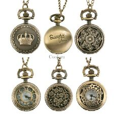 Vintage Pendant Antique Bronze Tone Men Pocket Chain Quartz Watch Necklace Gift
