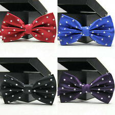 Men Classic White Polka Dots Adjustable Bowtie Necktie Party Tuxedo Bow Tie