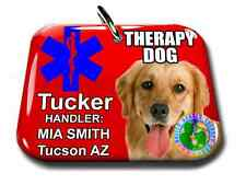 Service Dog ID Tag and Badge THERAPY DOG combo custom photo id for pet RED