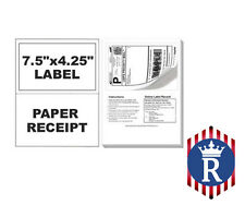 Paypal Ebay ClickNShip Shipping Labels w/ Tear off Paper Receipt - Laser Inkjet
