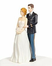 Army Military Wedding Cake Topper - Caucasian Bride and Groom