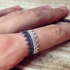 Silver Crown Ring - Sterling 925 Queen Princess Stacking Rings Oxidised Black