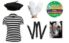 Childs French Man Mime Artist Fancy Dress TShirt Beret Braces Gloves Costume New