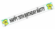PERSONALISED BANNERS NAME AGE PHOTO BIRTHDAY FOOTBALL 60th 70th 80th YELLOW K6
