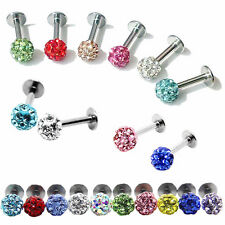 Colorful Surgical Steel CZ Crystal Ball Lip Labret Tragus Bar Ring Piercing Stud
