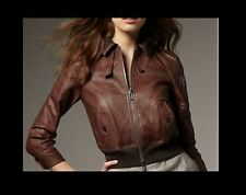 $1200 Bird by Juicy Couture Riley Leather Bomber Jacket Tobacco Brown M GORGEOUS