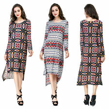 Womens Sexy Long Sleeve Dresses Loose Slits Dress Plus Size Party Evening Skirt
