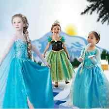Kids Girls Dresses Elsa Frozen dress costume Princess Anna party dresses 2-8Y!·~