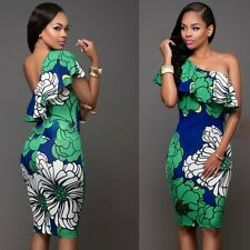Women Sexy Ruffles Bodycon Floral Cocktail Evening Party Prom Short Mini Dress