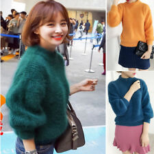 Womens Mink Cashmere Loose Pullovers Long Outerwear Thick Knitted Sweater Coat