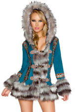 J Valentine hooded furry eskimo dress ladies costume