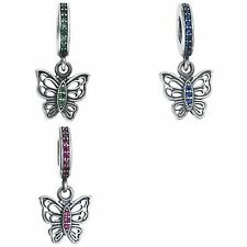 Antique Sterling Silver Butterfly CZ Crystal Dangle for European Charm Bracelets