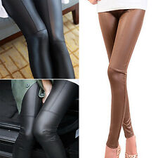 WOMENS STRETCH LEGGINGS PANTS SLIM TIGHT TROUSERS FAUX LEATHER JEGGINGS DISTINCT