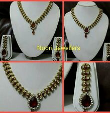 New Indian Bollywood Costume Jewellery Necklace With Earrings Set