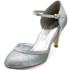 HC1510 Silver Round Toe Pumps Kitten Heel Glitter PU Prom Evening Party Shoes