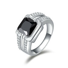 10KT Gold Filled Classic Gift Fashion Size 8,9,10,11 Men Black Sapphire AAA Ring