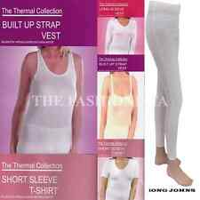 Womens Thermal Sleeveless Strap Muscle Vest Short Long Sleeve White Winter Top