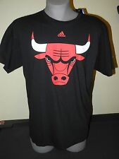 New Black Short Sleeve Chicago Bulls Adidas Men Black Cotton T-Shirt NBA Shirt