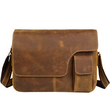 "14"" laptop mens business Real leather bag briefcase vintage shoulder bag"