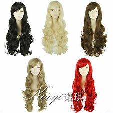 Fashion Womens Long Curly Full Wigs Synthetic Bangs Hair Black Blonde Brown Red