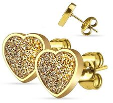 HEART Glitter Stud Earrings SURGICAL STEEL Hypoallergenic - Black, Gold, Silver